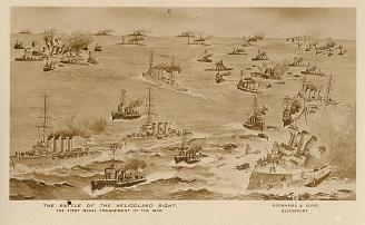 Postcard of the Battle from the scrapbook of Leading Signalman George Smith, then on board HM Destroyer Forester